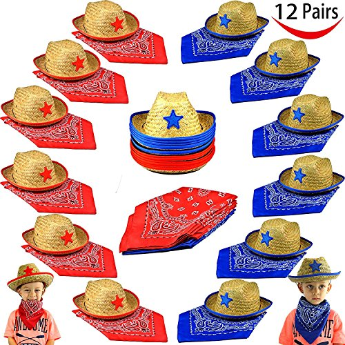 Pack of 12 Childs Straw Cowboy Hats with Cowboy Bandannas (6 red & 6 blue) Party Favors -