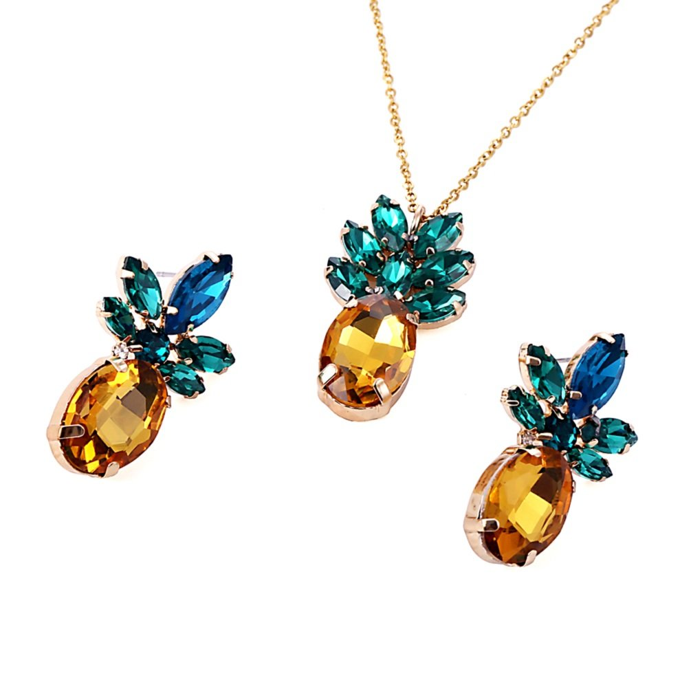 Sparkling Yellow Emerald Crystal Vintage Trendy Fruit Pineapple Earrings Stud Jewelry For Women Girls (pineapple earring necklace sets)