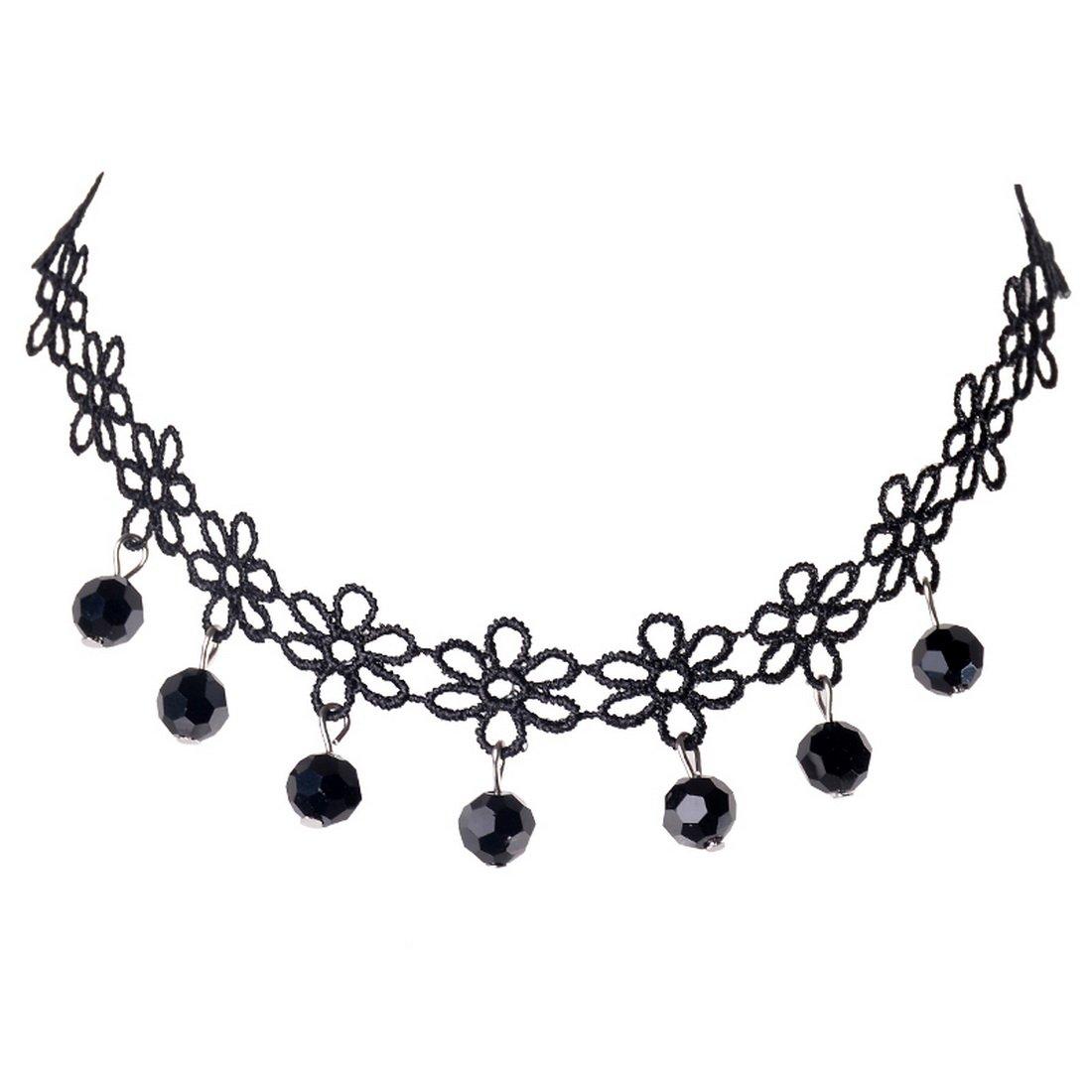 Souarts Noir Collier Tour de Cou Gothique Dentelle Papillon avec Pendentif Perles A000A11B4