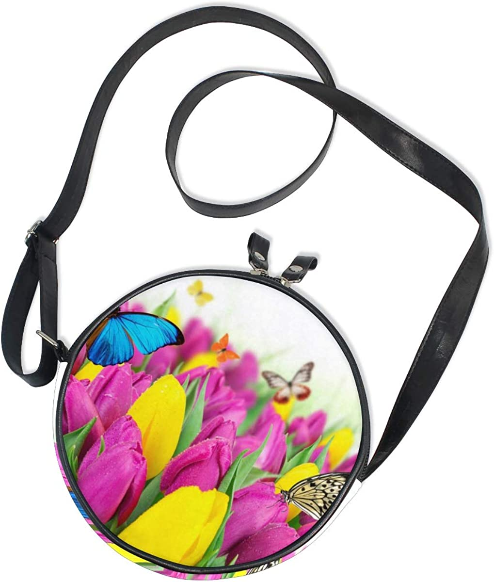 KEAKIA Lips Round Crossbody Bag Shoulder Sling Bag Handbag Purse Satchel Shoulder Bag for Kids Women