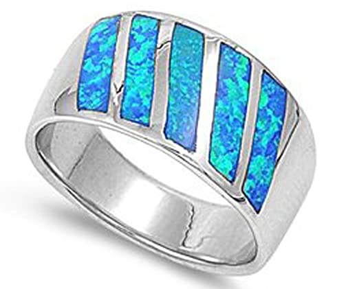 THE ICE EMPIRE 12MM .925 Sterling Silver BLUE Lab OPAL RING BAND SIZES 5-10
