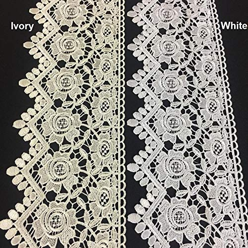(Lace Trim Rose Floral Geometric Scallops Venise by The Yard 5