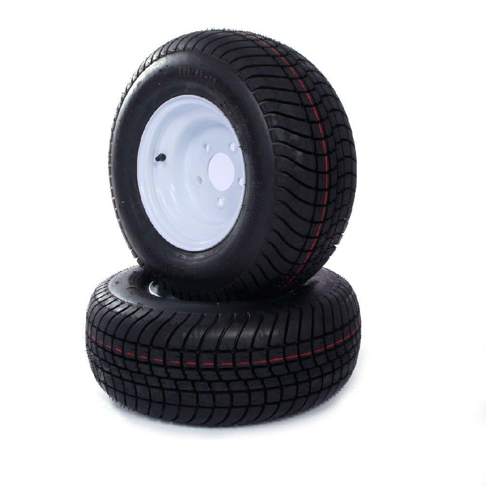 2 Pcs Trailer Tire & Rims 20.5 X 8 X 10 205/65-10 20.5/8-10 20.5/800-10 5 Lugs White Autoforever