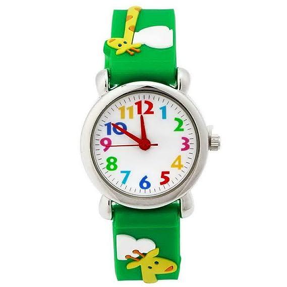 Happy Cherry - Reloj Analógico de Cuarzo para Niñas Chicas 3D Dibujo de Cartoon Animal de Silicona Goma Aprender Horas - Jirafa - Verde: Amazon.es: Relojes