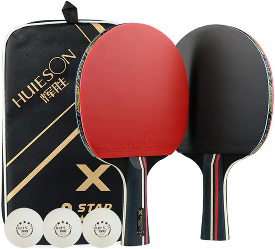 UNIIKE Paleta de Ping Pong - Mesa de Ping Pong con la Hoja de Goma - Principiante hasta Experto Raqueta,Horizontal Shot