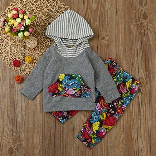 Bekleidung Longra Kleinkind Baby Mädchen Jungen Floral Kleidung Set mit Kapuze Sweatshirts Hoodie Langarmshirts Tops + Lang Hosen Babymode Babybekleidung (0-24Monate) Multicolor
