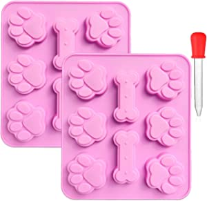 DXLTMY 2 Pack Puppy Dog Paw and Bone Shaped 2 in 1 Silicone Molds with Clear Liquid Droppers, 8 Cavity Reusable Candy Making Moulds for Chocolate Soap Candy Cake Pudding Jelly Dog Treats Baking Pans