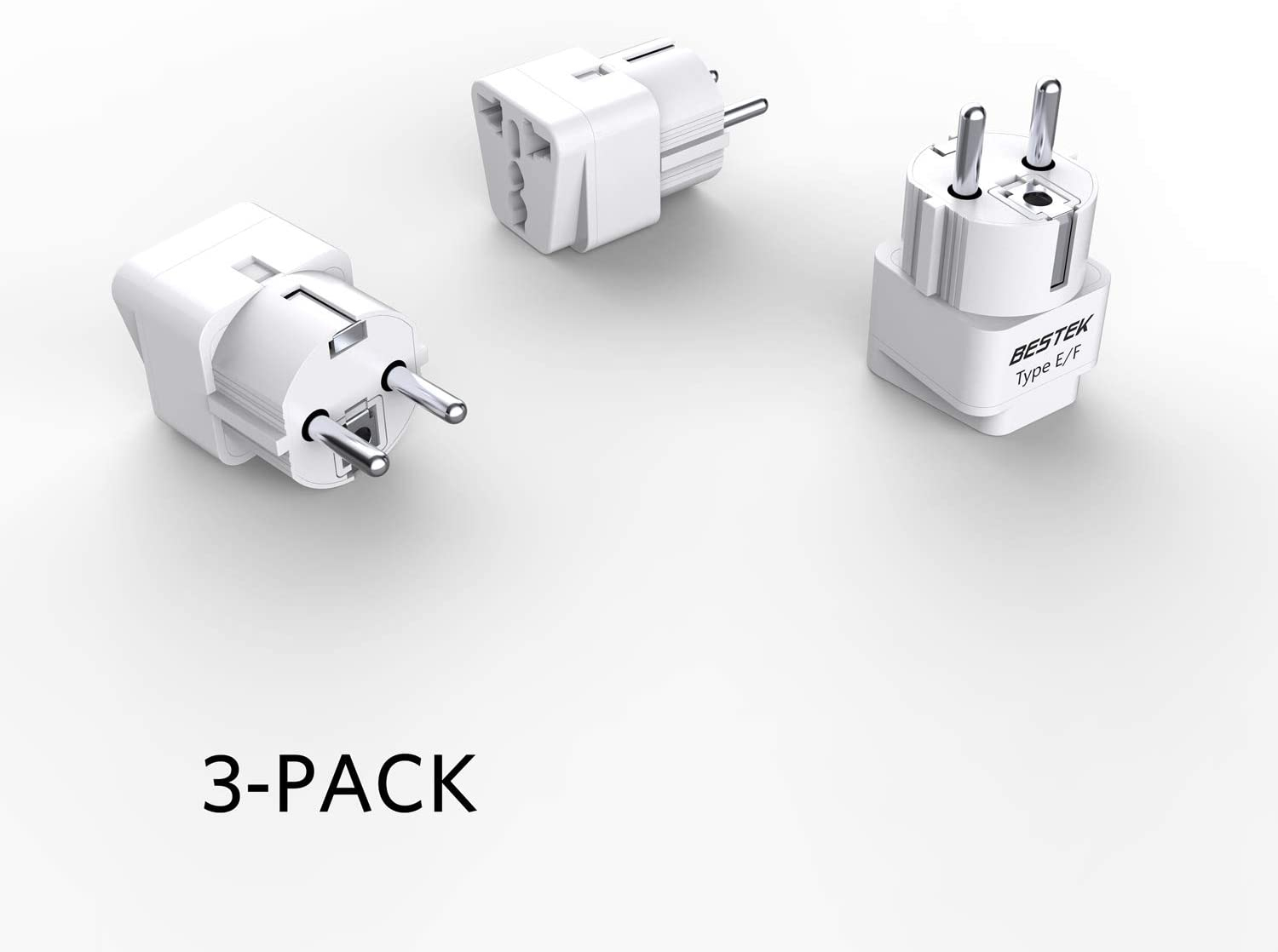 BESTEK Europe Travel Plug Adapter, Grounded Universal Type E/F Plug Adapter EU to US Adapter - Ultra Compact for Most of Europe, Asia Countries and More, 3 Pack