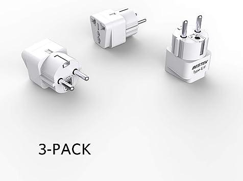 BESTEK Universal Grounded Plug Adapter Travel Adapter for Germany Europe 3 Pack