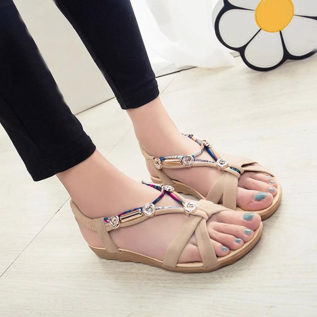 Women Fashion Summer Sandals Shoes Peep-Toe Low Shoes Roman Sandals Boho Flip Flops B07D759FPF 40 EU|Beige