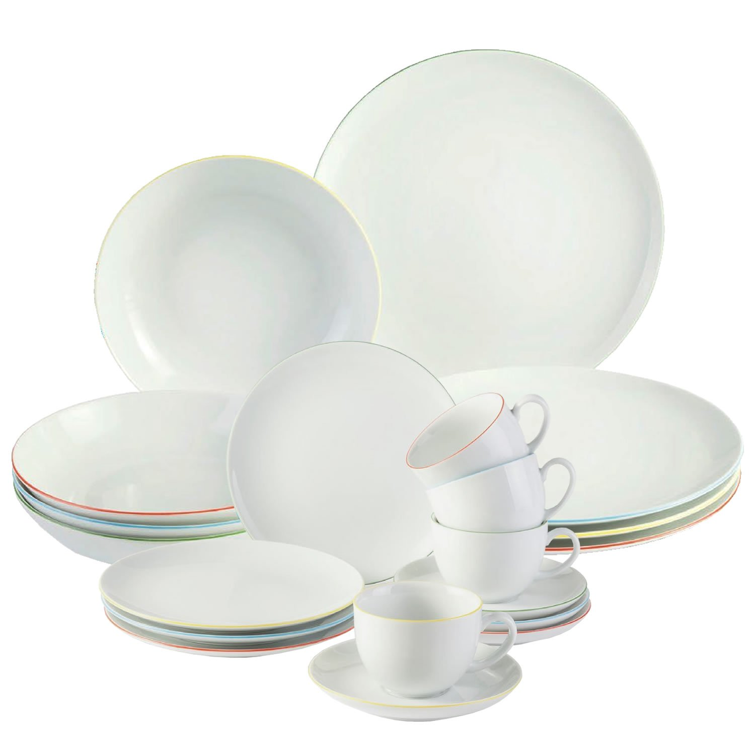 villeroy  boch fresh colour dinner set  pieces  x dinner  - villeroy  boch fresh colour dinner set  pieces  x dinner plates sideplates bowls coffee or tea cups and saucers modern designer whiteporcelain