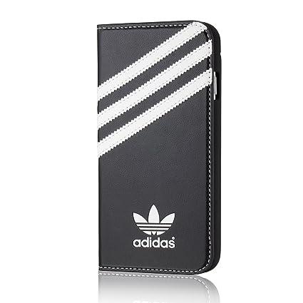 adidas(アディダス) iPhone6/iPhone6s 専用 手帳型 レザー ケース カードホルダー付 黒×白ロゴ [並行輸入品]