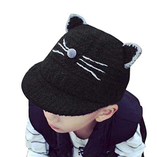 Iuhan Cat Knitted Crochet Baby Kids Boy Girl Beanie Winter Warm Hat Toddler  Soft Cap ( bf430adc90e