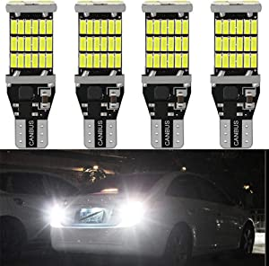 4-Pack 921 912 T10 T15 White 1200 lumens 12V-24V Extremely Bright Non-Polarity Canbus Error Free AK-4014 45pcs Chipsets LED Bulbs For Backup Reverse Lights, Xenon White 6000K