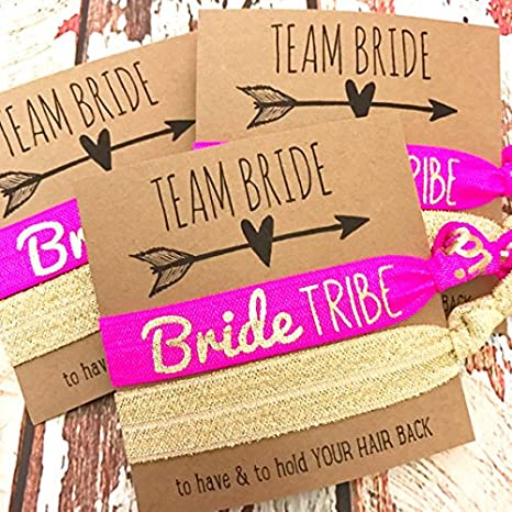 Amazon.com  Pack of 10 Bachelorette Hair Tie Party Favors (1 Bride ... 7b6d9b75f83