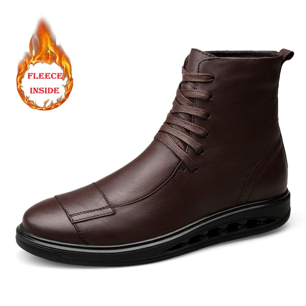 Hilotu Men's Ankle Fashion Boots Casual Individual Stitching Winter Fleece Inside High Top Work Shoes(Conventional Optional) (Color : Warm Brown, Size : 7.5 D(M) US)