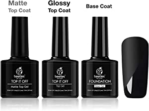 Beetles Matte Top Coat and High Gloss Top Gel Coat Base Coat Set - No Wipe top Coat, Gel Nail Polish Matte Shine Finish and Long Lasting, Soak Off UV LED Gel, 7.5ml Each Bottle