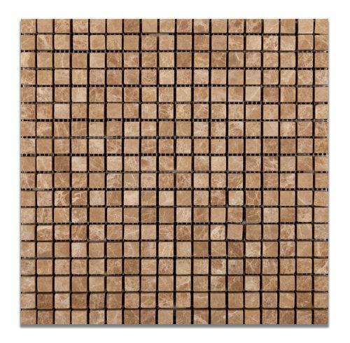 (Emperador Light (Cedar) Marble 5/8 X 5/8 Tumbled Mosaic Tile - 6