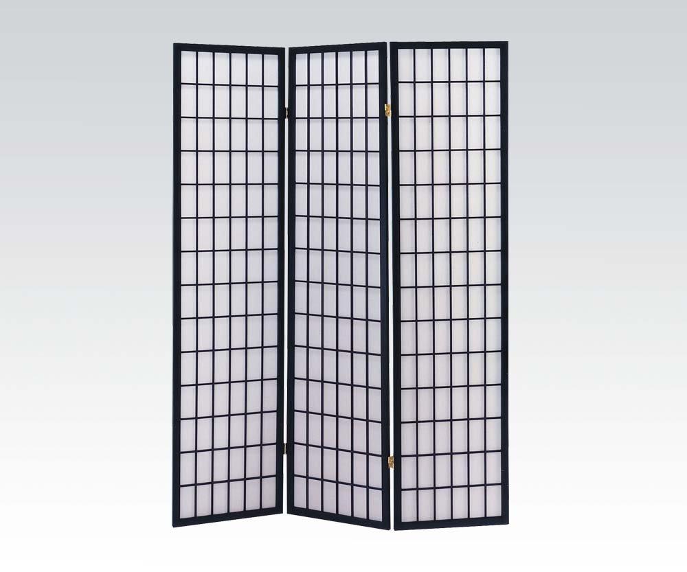Brand New Naomi (18''x3) x71''H Black Finish 3-panels Wooden Screen Room Divider