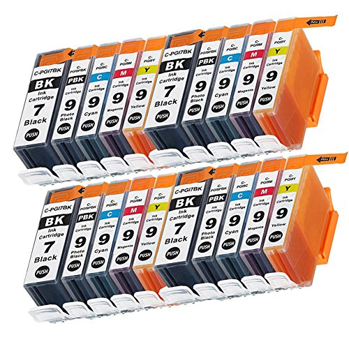 LiC-Store 20x (4 Big Black,4 Small Black, 4 Cyan, 4 Magenta, 4 Yellow) Compatible for Canon PGI-7 , PGI-9 for use with Canon IX7000 RFB, PIXMA MX7600, PIXMA iX7000. Ink Cartridges for inkjet printers ()
