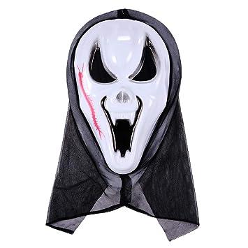 SAKYO Máscaras de Halloween Máscara de esqueleto, Máscara de aterradora con manchas de sangre,