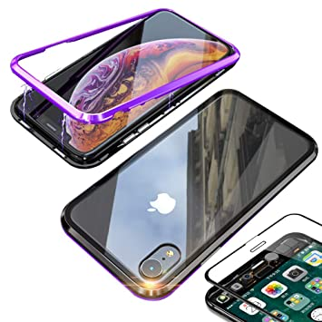 DoubTech Funda Adsorción Magnética iPhone XR +Vidrio Templado Protector Pantalla, Carcasa Imanes Marco Metal Incorporado Diamante Borde Transparente ...