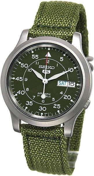 Amazon Com Seiko Men S Snk805 Seiko 5 Automatic Stainless Steel Watch With Green Canvas Seiko Watches
