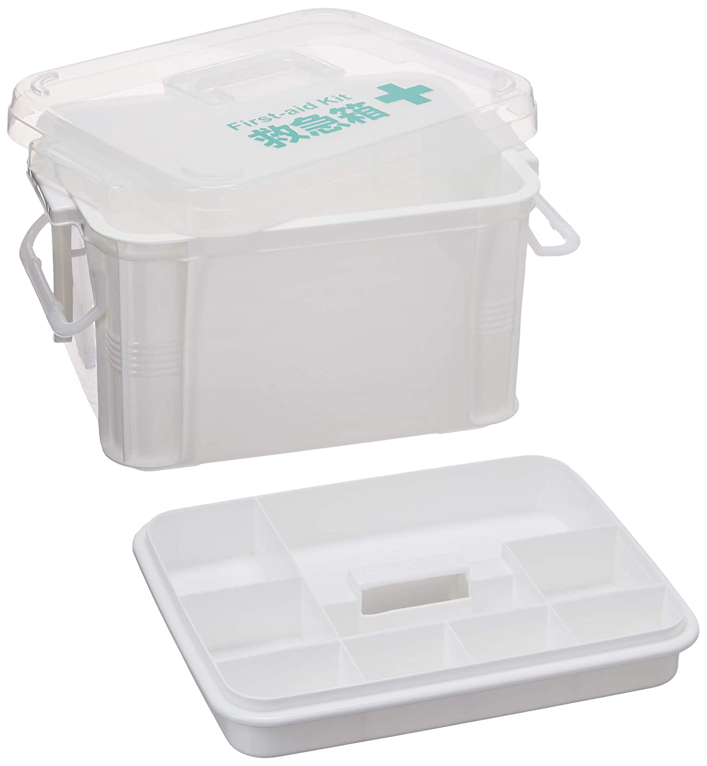 FaSoLa Dual-Layer Polypropylene Medicine Storage Case Box White, L