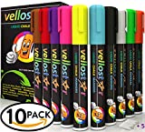 Image of CHALK MARKERS 10 Pack with 5 Extra Tips CHILD SAFE Non-Toxic Neon Chalkboard Markers for Non-Porous Surfaces with Reversible Bullet-Chisel Fine Tip Set Your Creativity in Motion Now