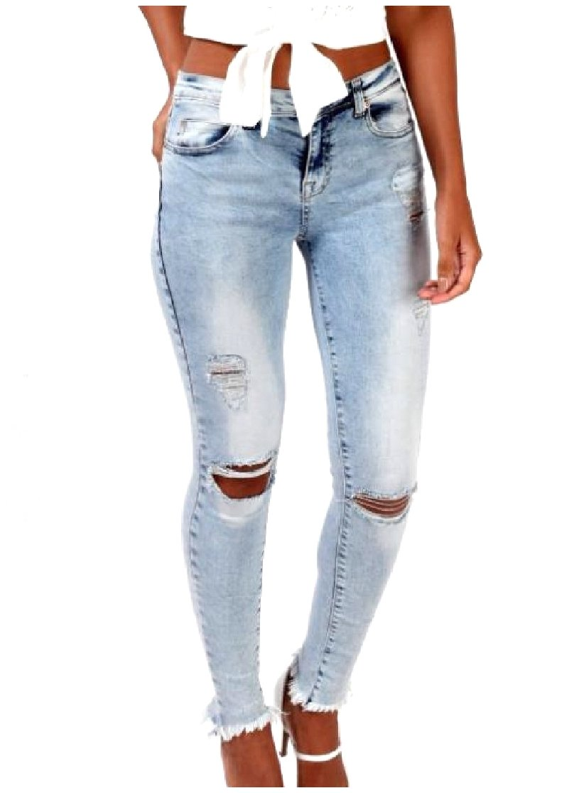 DoufineWomen Doufine Womens Ripped-Holes Destroyed Denim Pants Skinny Stretch Silm Fit Cozy Jeans Light Blue M