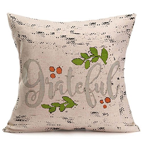 GOVOW Thanksgiving Decorations for Home Happy Fall Soft Linen Pillow Case Cushion Cover Home Decor