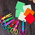 Chris.W 6Pcs Kids Safety Scissors Paper Decorative Wave Lace Edge Cutters Set for Scrapbook Crafts, Photo Album Decor and Greeting Gift Cards, 5 Inch, Multi-Colored