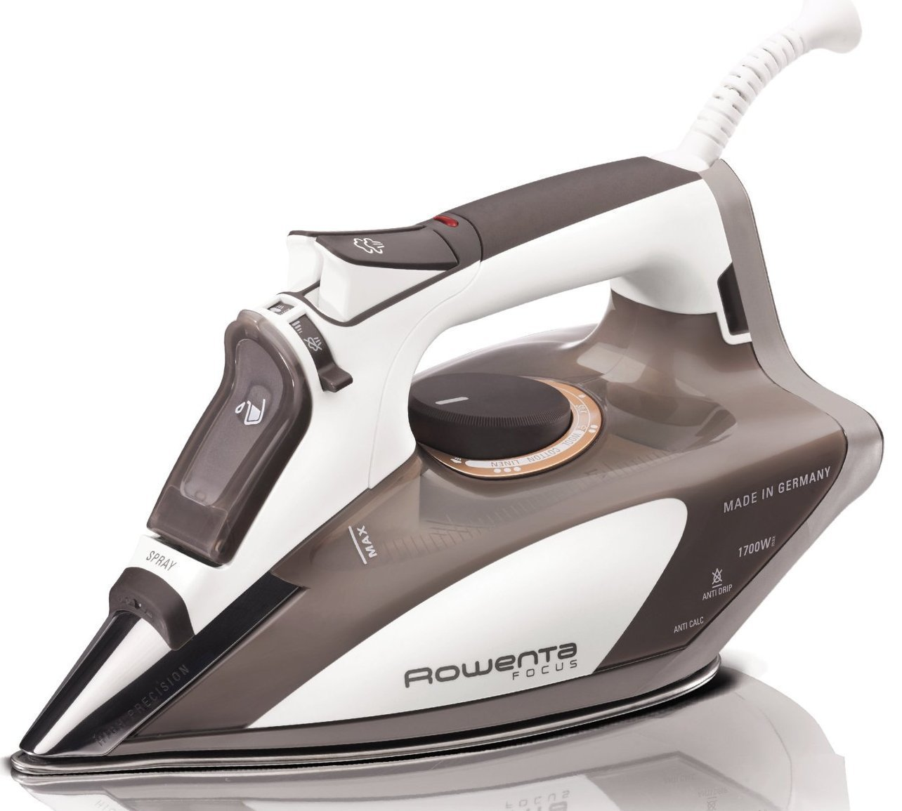 Rowenta DW5080 Focus 1700-Watt Micro Steam Iron Stainless Steel Soleplate with Auto-Off, 400-Hole, Brown 2-Pack