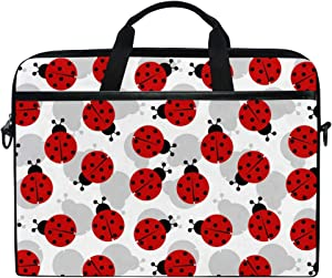 KUWT Laptop Case Animal Ladybug Print Laptop Shoulder Messenger Bag Case Sleeve Crossbody Briefcase with Strap Handle for Notebook Computer, 15\'\' x 1\'\' x 11\'\'