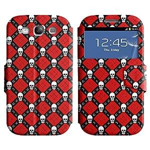 LEOCASE White Skull Funda Carcasa Cuero Tapa Case Para Samsung Galaxy S3 I9300 No.1002436