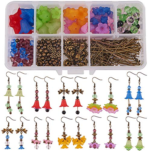 SUNNYCLUE 1 Box DIY 10 Pairs Frosted Mixed Acrylic Lily Flower Drop Dangle Earring Making Kits-Flower Acrylic Beads Bead Spacers Nick Free Earring Hooks, Antique Bronze