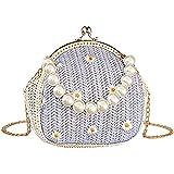 QZUnique Women Straw Plaited Daisy Single Shoulder Messenger Bag Handmade Rattan Clip Purse With Pearl Handle