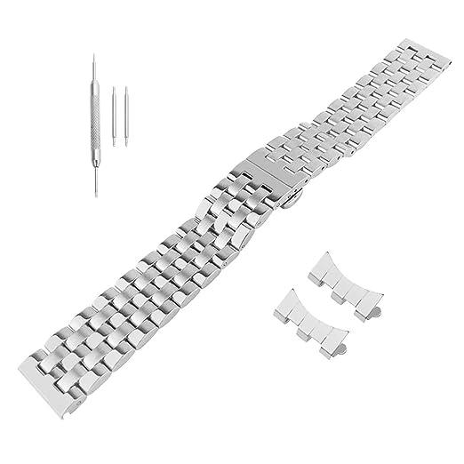 19mm 21mm 22mm Correas de Repuesto Correas de Reloj de Pulsera de Acero Inoxidable de Plata sólida Banda de Reloj de la Hebilla: Amazon.es: Relojes