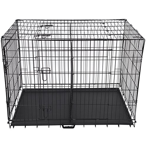 (Folding 42-inch Triple-door Metal Dog Crate with Divider Panel)
