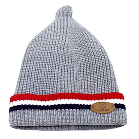 45a0282c7f7aa uBabamama for 0-8 Months Newborn Infant Striped Hat Winter Warm Knit Crochet  Beanie Cap for Baby Boy Girl(Gray