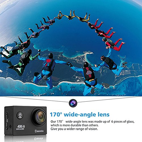Action Camera Waterproof 4K Underwater Camera Video Sport Camera WiFi Davola 16MP Ultra HD with Remote Control 170° Wide Angle Lens 2 Rechargeable Batteries and Mounting Accessories Kit by Davola (Image #3)