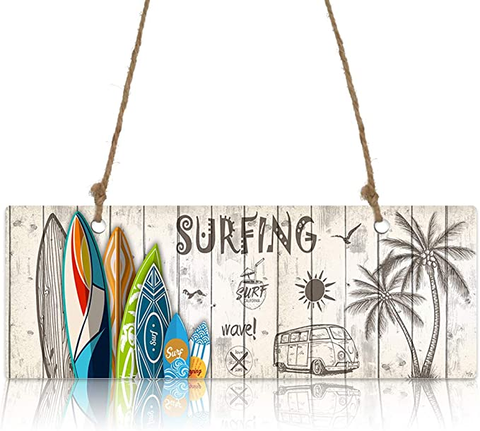 Chucoco Summer Colorful Surf Board on Wooden Texture Wood Plaque Wall Hanging Welcome Sign Decorations, Palm Tree Wall Plaque House Decor for Home Front Door Porch Living Room Kitchen Office