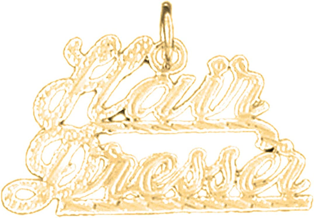 14K Yellow Gold-plated 925 Silver Hair Dresser Pendant Jewels Obsession Silver Hair Dresser Pendant