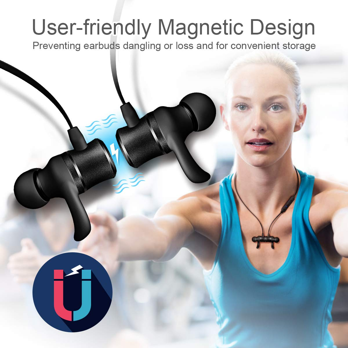 iTeknic Bluetooth Headphones Neckband Magnetic Wireless in-Ear Earbuds Sports Sweatproof Lightweight Earphones for Running Gym with Mic(24 Hours Play Time, Bluetooth 5.0, IPX4, DSP Noise Canceling)