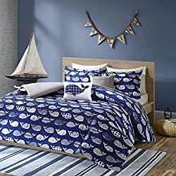 Urban Habitat Kids Moby Full/Queen Kids Bedding Sets for Boys - Navy, Whale – 5 Pieces Boy Comforter Set – 100% Cotton Kid Childrens Bedroom Comforters