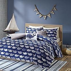 Urban Habitat Kids Moby Full/Queen Kids Bedding Sets for Boys - Navy, Whale – 5 Pieces Boy Comforter Set – 100% Cotton Kid Childrens Bedroom Comforters