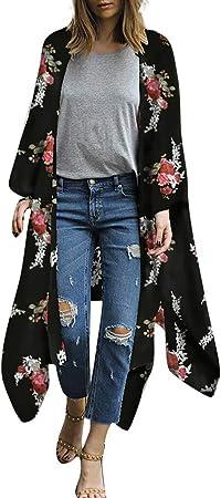 Vestidos Mujer Casual Tallas Grandes Vestido de Camisa de Gasa para Mujer de Moda Kimono Estampado Top Cardigan Cubrir Blusa Ropa de Playa Camisa Vestido: Amazon.es: Hogar