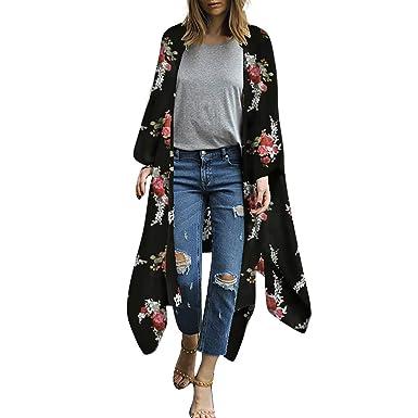 2fc4c051fa TOPSPEED Women's Chiffon Print Sunscreen Cardigan Beach Cover Up Beachwear  Black