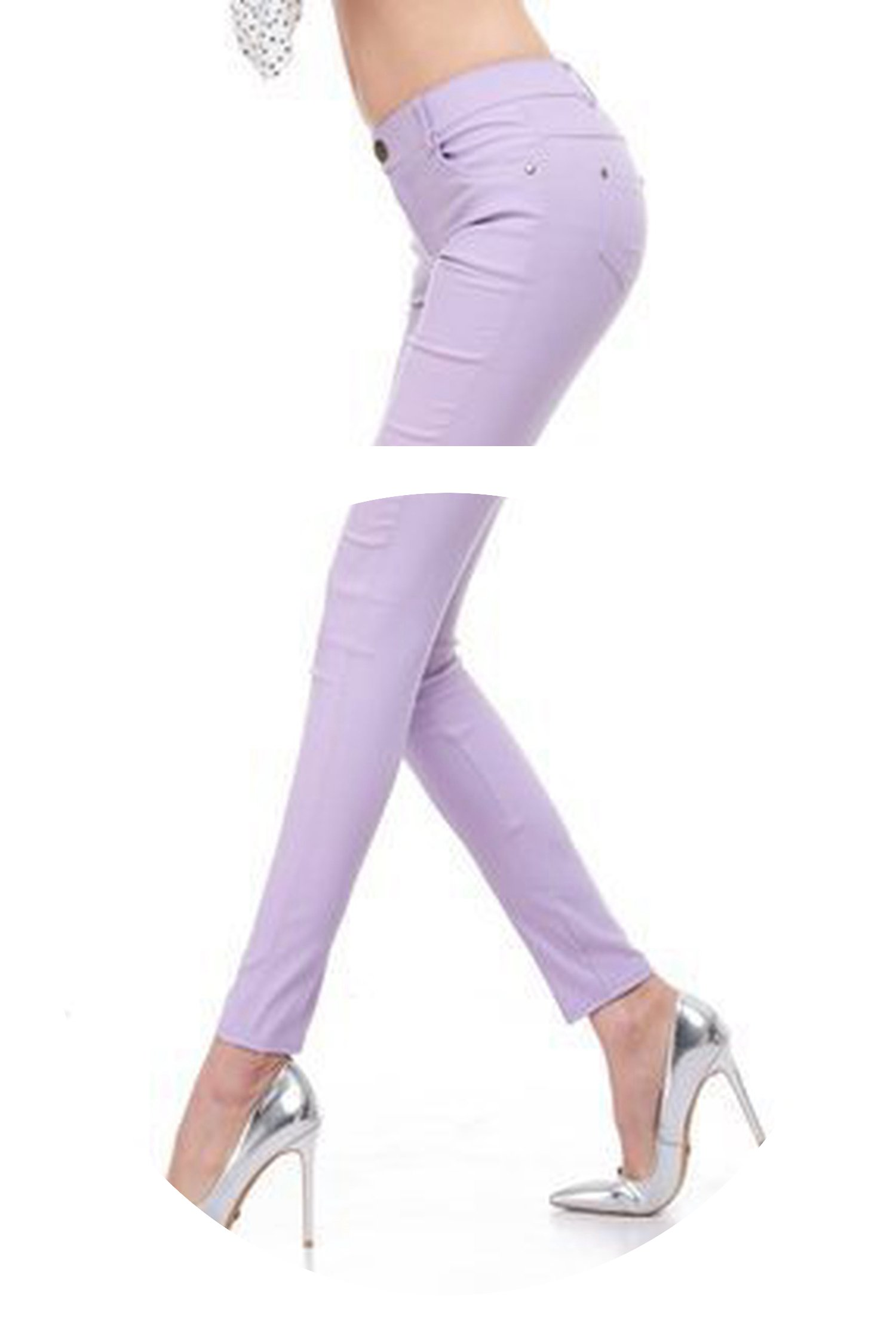 2018 Spring and Summer Women's Slim Pencil Pants Candy Colors Slacks Girl's Stretch Trousers Elastic,Purple,M