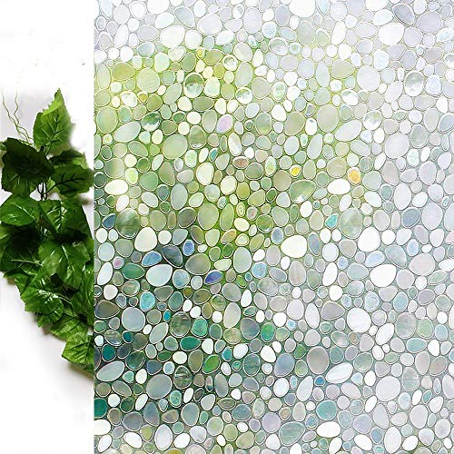 Bloss Glass Window Film No Glue Privacy Window Cling 3D Pebble Decal Glass Stickers for Doors, Cabinet, Bathroom 17.7'' by - Cabinets Stained Glass Kitchen